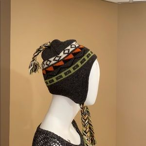 Wool lined knit ski hat with tassels